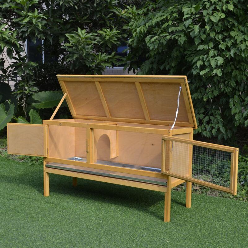 PawHut Raised Solid Wood Rabbit Hutch Backyard Habitat Cage for Small Animals