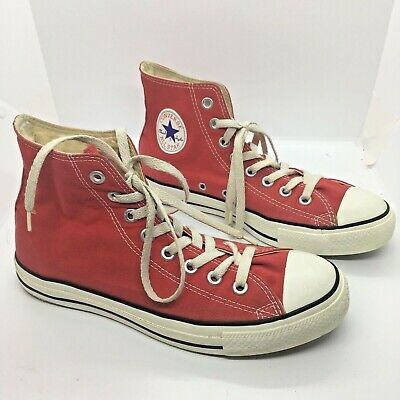 Converse Red VTG Retro Chuck Taylor All Star Mens 7 Womens 9 Canvas High Top