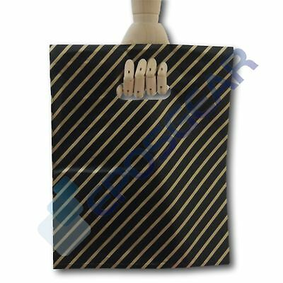 1000 Medium Black and Gold Striped Gift Shop Boutique Plastic Carrier Bags