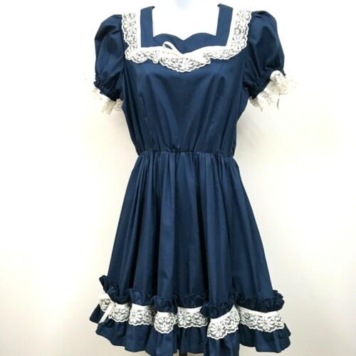 VTG Square Dance Dress Lace Bows Country Rockabilly Twirl Skirt Ruffle USA M