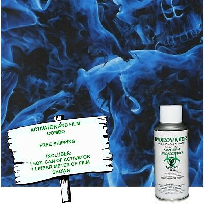 Hydrographic Film Water Transfer Hydro Dip 6oz. Activator W Blue Skulls Dip Kit