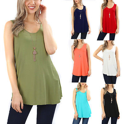 Sleeveless Flowy Tank Top Soft Knit Tunic Womens Scoop Neck Loose Relax Fit Long