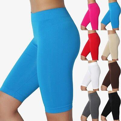 TheMogan Basic Plain Stretch Biker Short Leggings Under Skirt Burmuda Shorts (Leggings Skirts)