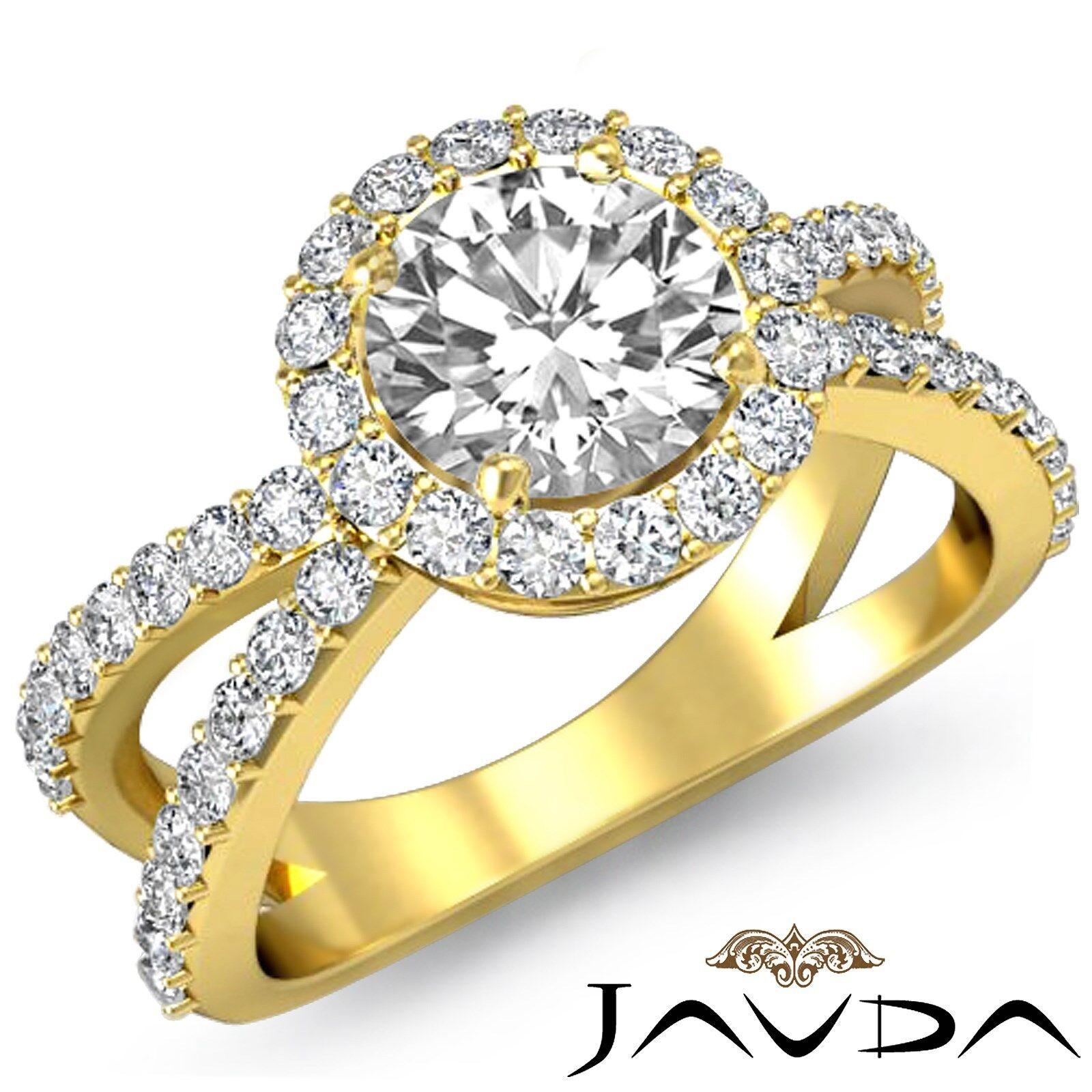 Halo Pave Round Diamond Engagement Split Shank Filigree Ring GIA G VS2 2.25 Ct
