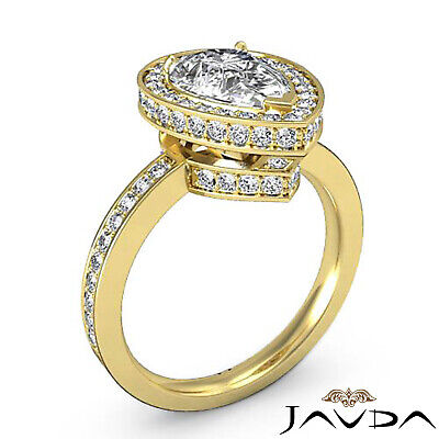 Circa Halo Pave Pear Shape Diamond Engagement Ring GIA Certified G SI1 2.05 Ct 7