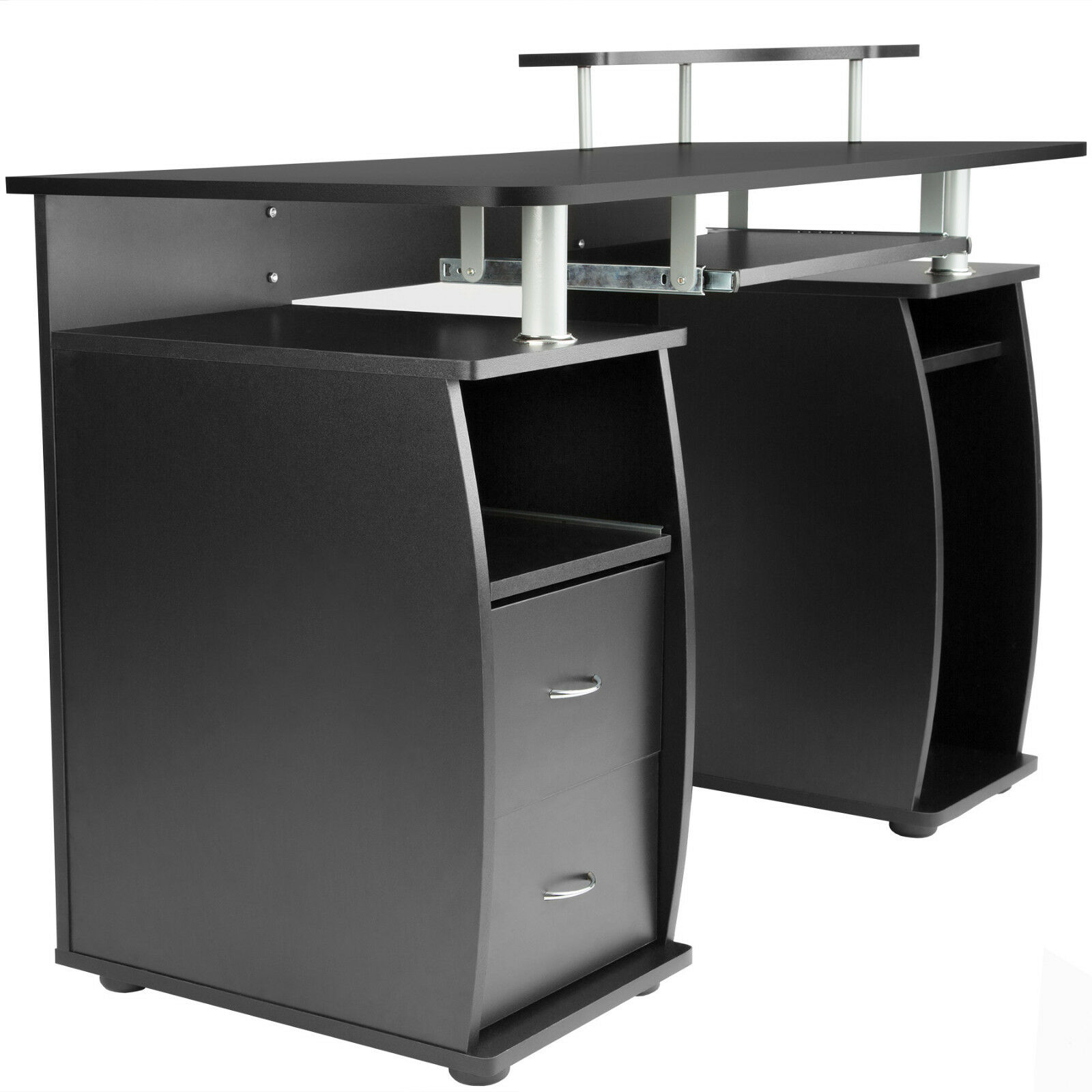 bureau informatique table de l 39 ordinateur travail mobilier meubles pc noir eur 154 90. Black Bedroom Furniture Sets. Home Design Ideas