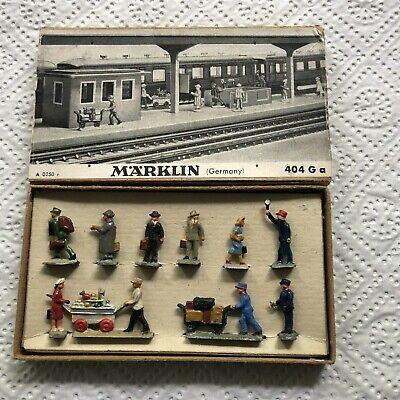 Märklin Eisenbahnfiguren Set BAHNHOFSREISENDE 404 G a von 1950 komplett, TOP!