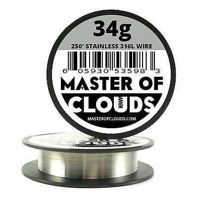 Ss 316l - 250 Ft. 34 Gauge Awg Stainless Steel Resistance Wire 0.16 Mm 34g 250