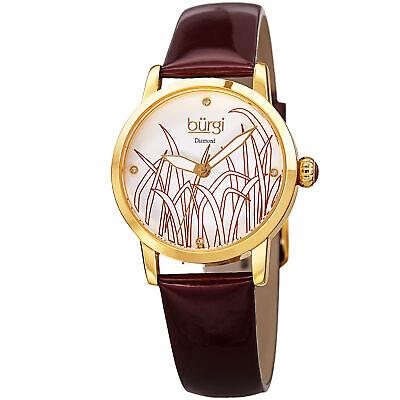 Women's Burgi BUR173BUR Matte Diamond Dial Reed Design Genuine Leather Watch