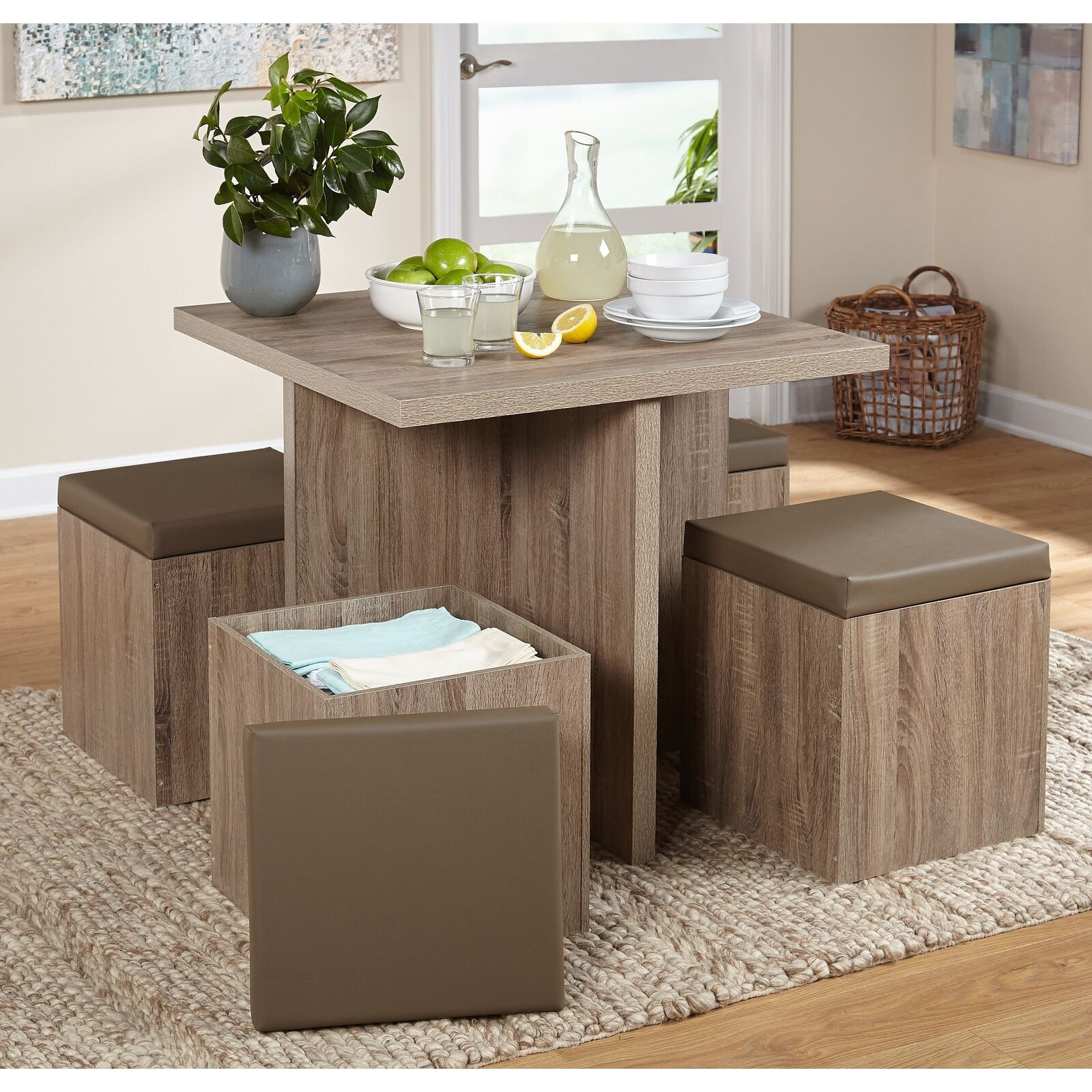 Details about Compact Dining Room Set 5 Piece Modern Space Saving Table  Storage Stools Taupe