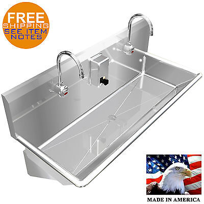 Multistation Wash Up Hand Sink 2 Users 40 Elec Faucet Stainless Steel Heavy D.