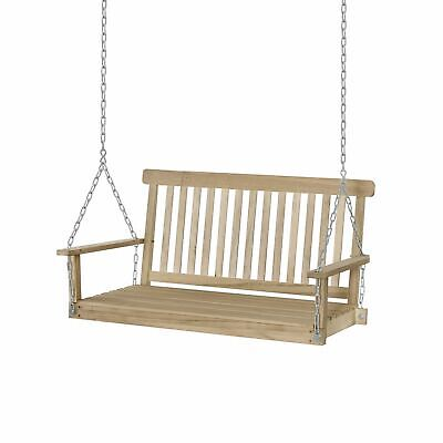 Outdoor 2-Seater Wooden Swing Chair Bench Hammock Loveseat w/ Hanging Chain UK