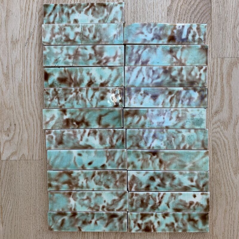 LOT Of 22 A. E. Tile Co. ANTIQUE FIREPLACE MOTTLED BROWN Blue-Green Ivory