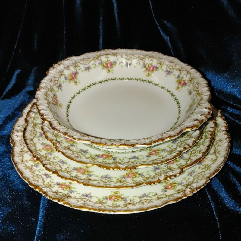 SET 4 LIMOGES Soup Bowl.dinner plate,dessert. salad,one  place setting JPL
