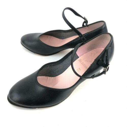 Capezio Womens 5.5 Black Mary Jane Heeled Tap Shoes