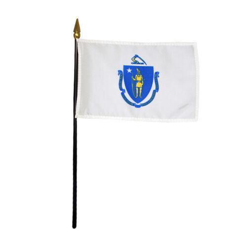 "Massachusetts MA State Polyester Miniature Tabletop Desk Flag 4"" X 6"" (12 Pack)"