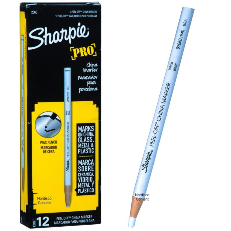 Sharpie Pro White Peel Off China Marker, Grease Pencil, 02060, Box of 12
