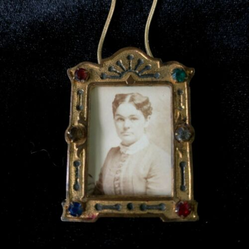 Victorian Photo Mourning Pendant Faceted Glass Rhinestone Multi-Color Frame