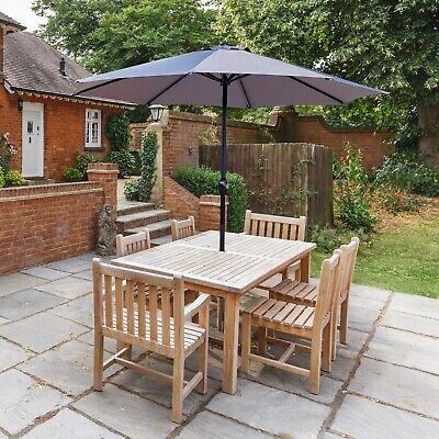 Garden Table Parasol Patio Crank Handle Umbrella Shade Waterproof Light Grey