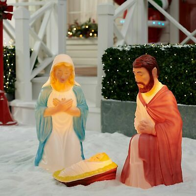 Large Outdoor Nativity Set ( Lighted Outdoor Nativity 3 pc Set Holy Family Large Christmas Display)