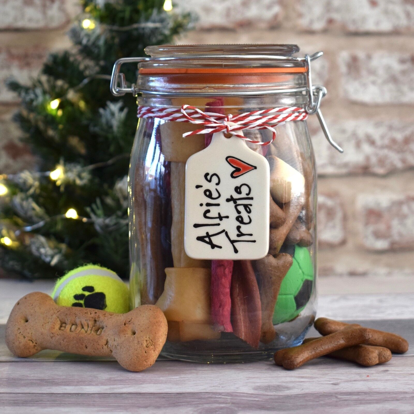 Personalised Christmas Gift Dog Puppy Treat Jar Xmas Present