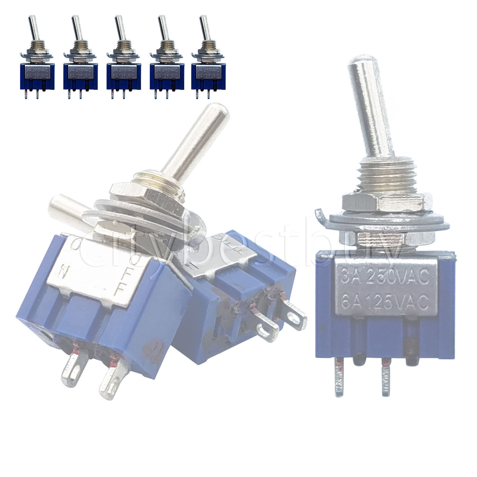 5pcs Mini Toggle Switches Mts 101 Single Pole Double Throw On Off Rocker Switch Spst Onoff 6a Blue