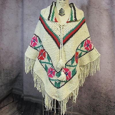 EY- Vintage Boho hippie ethnic hand knitted poncho cape jacket coat- One Size