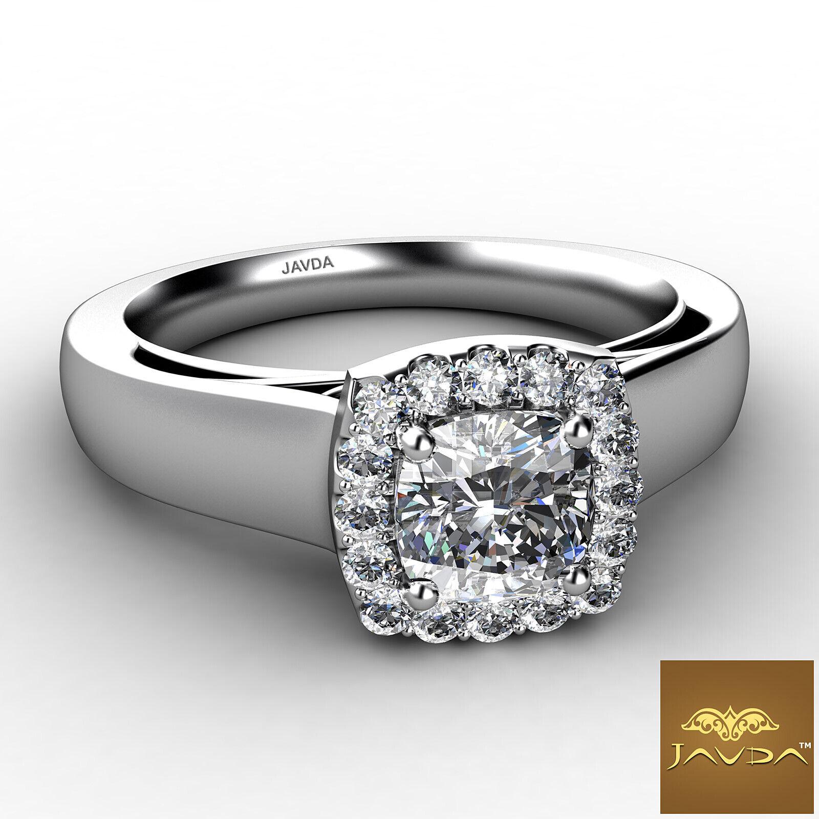 Halo Filigree Shank Prong Set Cushion Diamond Engagement Ring GIA F VS2 0.7 Ct 1