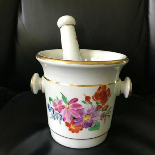 Sevres Type Mortar & Pestle w/ Gold Maple Leaf - AS IS - C
