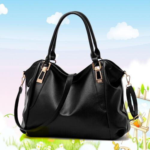 Schwarz Damentasche Leder Shopper Handtasche Schultertasche Tasche Frauentasche