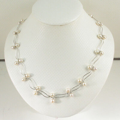 925 Sterling Silver Genuine Pale Pink F/W Culture Pearls Adjustable Necklace (Silver Pale)