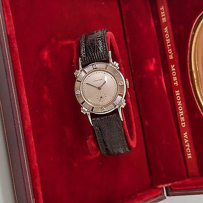 Superb vintage Longines solid 14K Gold Viscount Watch with Diamonds *Beauty*