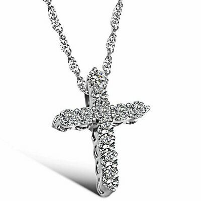 Rhinestone Paved Cross Pendant Necklace Ladies Women's Christmas Birthday Gifts Fashion Jewelry