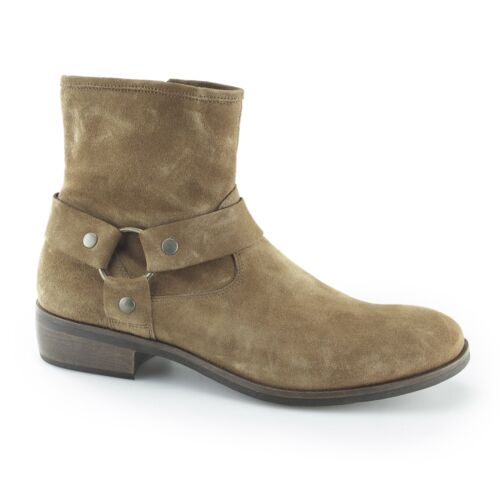 8ebf8068a46 Details about Machete CALICO Mens Suede Leather Harness Straps Round Toe Zip  Ankle Boots Tan