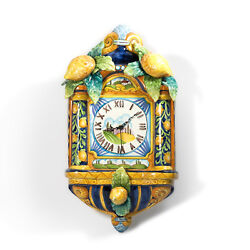 Italian Ceramic Platter / Wall Clock Decor, Handmade and Hand Painted in Italy.