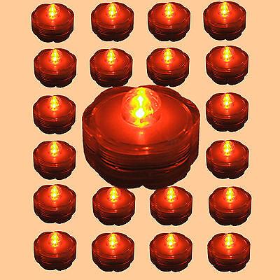 24 QTY- ORANGE LED Submersible Tea Light~ Wedding or Party Centerpiece Decor! - Halloween Centerpieces Wedding