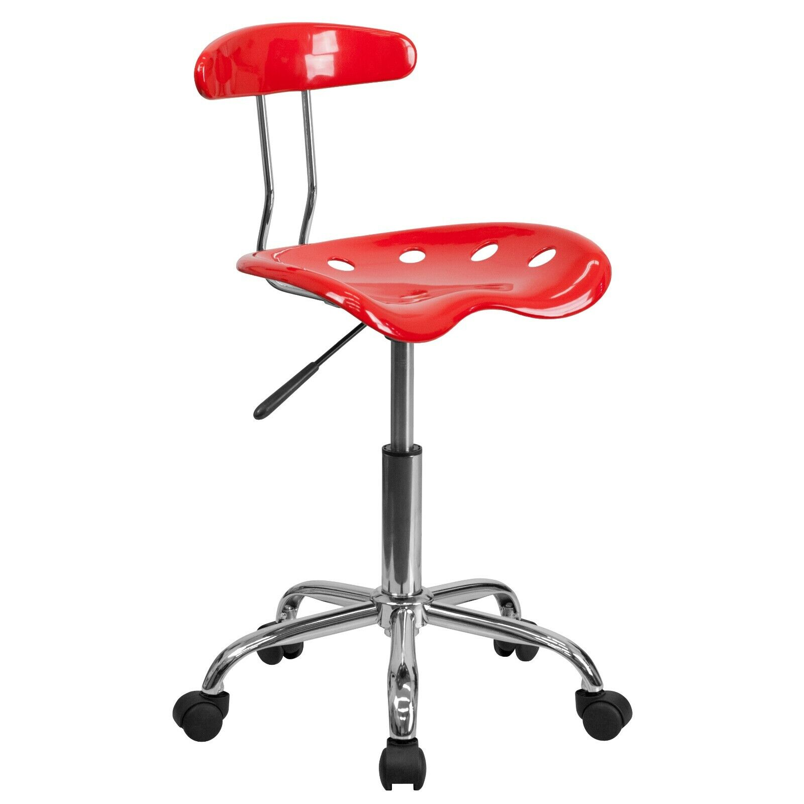 Flash Furniture Vibrant Red and Chrome Swivel Task Chair wit