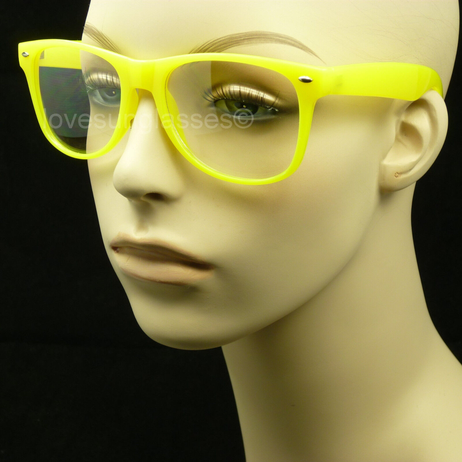 Yellow frame clear lens