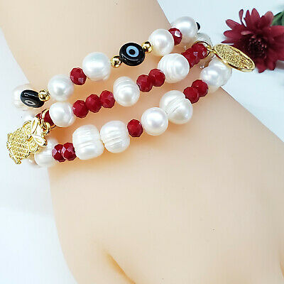 Handmade beaded Good Luck bracelet set. Owl Eyes Gold Plated beads, Water Pearls Gold Handmade Bracelets