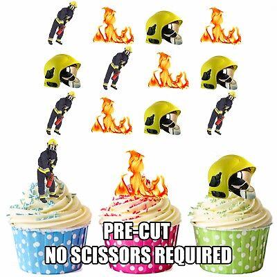 Vorgeschnitten Feuerwehrmann Themen 12 Essbare Cupcake Topper Kuchen Dekoration