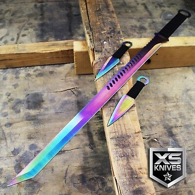 RAINBOW TANTO BLADE MACHETE NINJA SWORD WITH THROWING KNIVES AND SHEATH