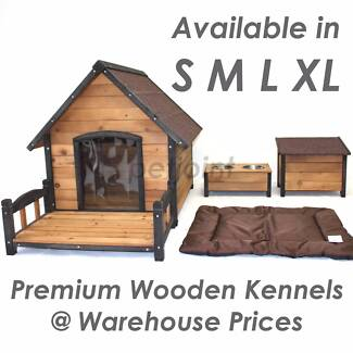 Wooden Kennel Pet Dog House Timber Log Puppy Home Outdoor Indoor
