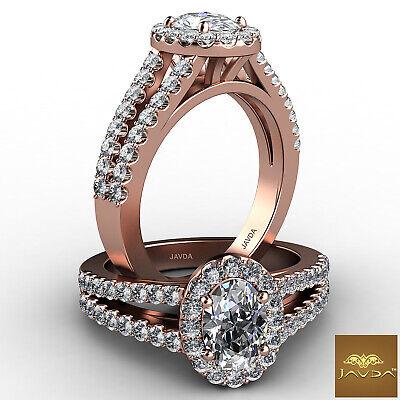 Halo Split Shank Oval Shape Diamond Engagement French Pave Ring GIA I SI1 1.47Ct 11