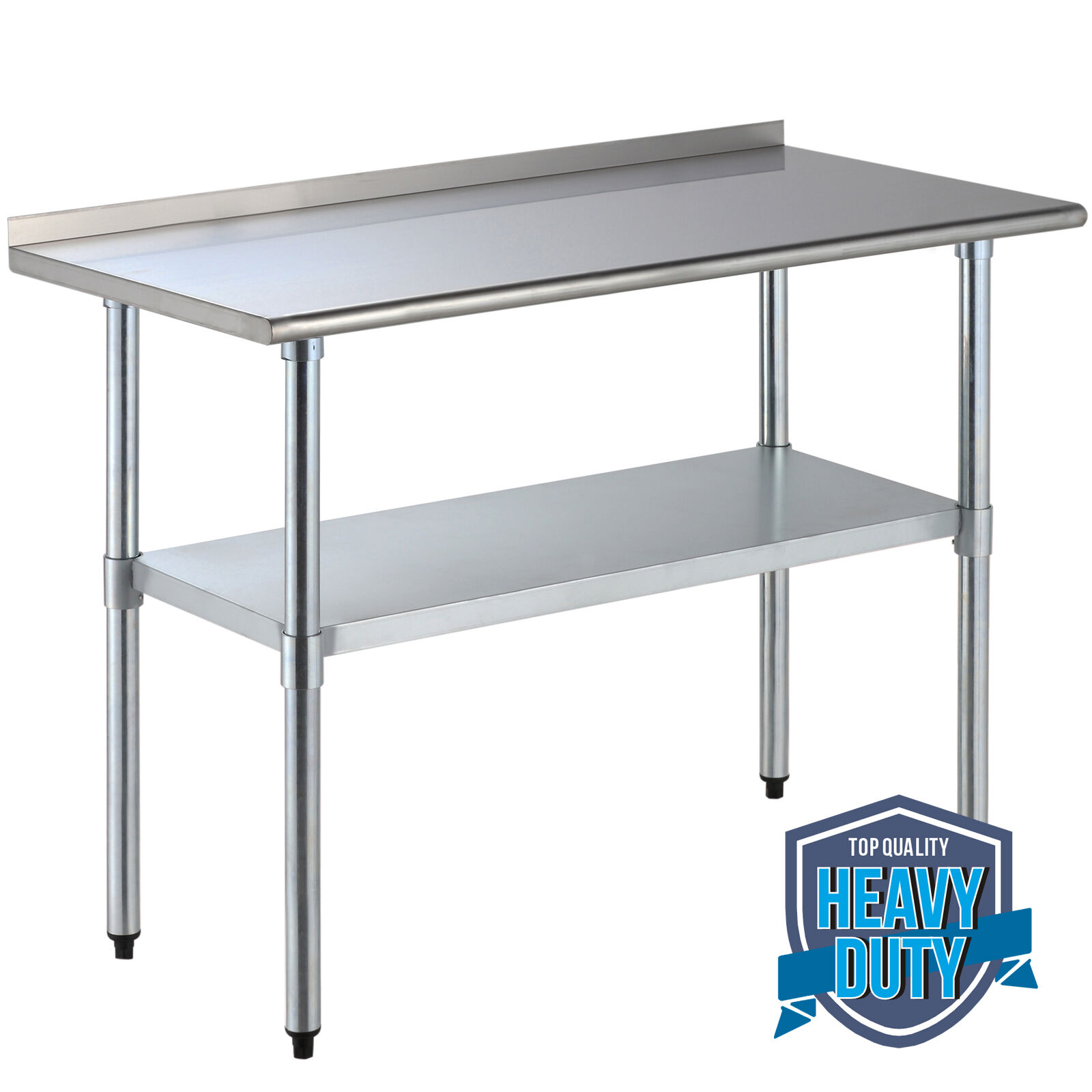 X Stainless Steel Work Prep Table With Backsplash Kitchen - Stainless steel prep table with shelves