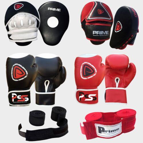 как выглядит 10oz Boxing gloves focus pads hand wraps fight colour red black set Prime фото