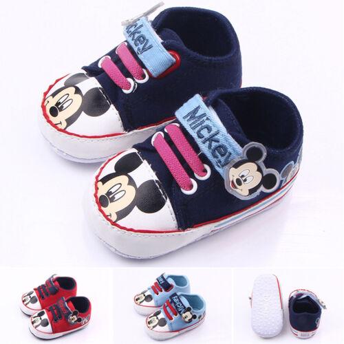 Krabbelschuhe Baby Mädchen Jungen Mickey Turnschuhe Sneaker Rutschfeste Schuhe