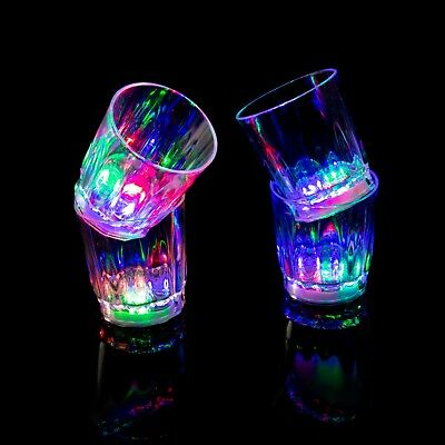 4 Plastic LED Flashing Shot Glasses Light Up Luminous Barware Party Wedding UK - Plastic Party Glassware