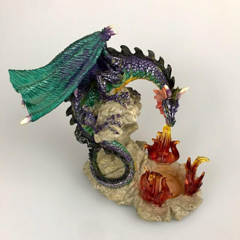 Dragon Statue Figurine Multi-Colored Aqua Purple Tea Light Flames Light Fantasy