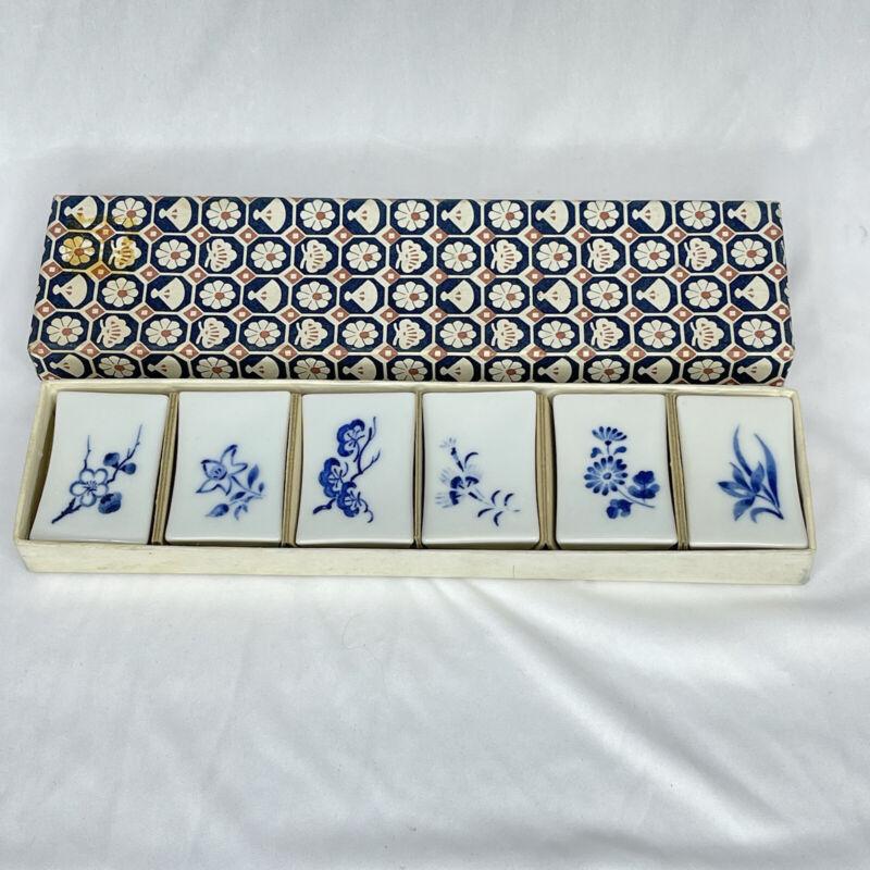 Pier 1 Imports Porcelain Blue Floral Chopstick Rests Set of 6 Vintage