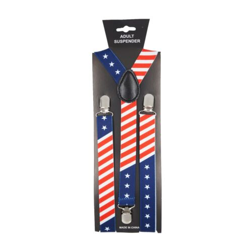 Usa American Flag Adjustable Elastic Stars And Stripes Suspenders Red White Blue
